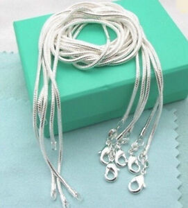 Sterling-Silver-Plated-Snake-Chain-Necklace-Wholesale-Lot-of-10-Liquidation-18-034