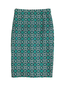 NWT J.CREW Sz 0P Navy bluee Green No. 2 Pencil Skirt in Lattice Medallion