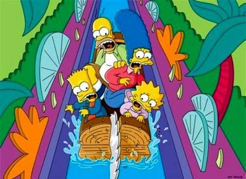 Itchy & Scratchy Land Log Flume Water Ride Joke Splash Mountain The Simpsons Art