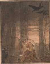 Hagen Kills Siegfried Wagner Ring Arthur Rackham 1911 Antique Tipped-In Print