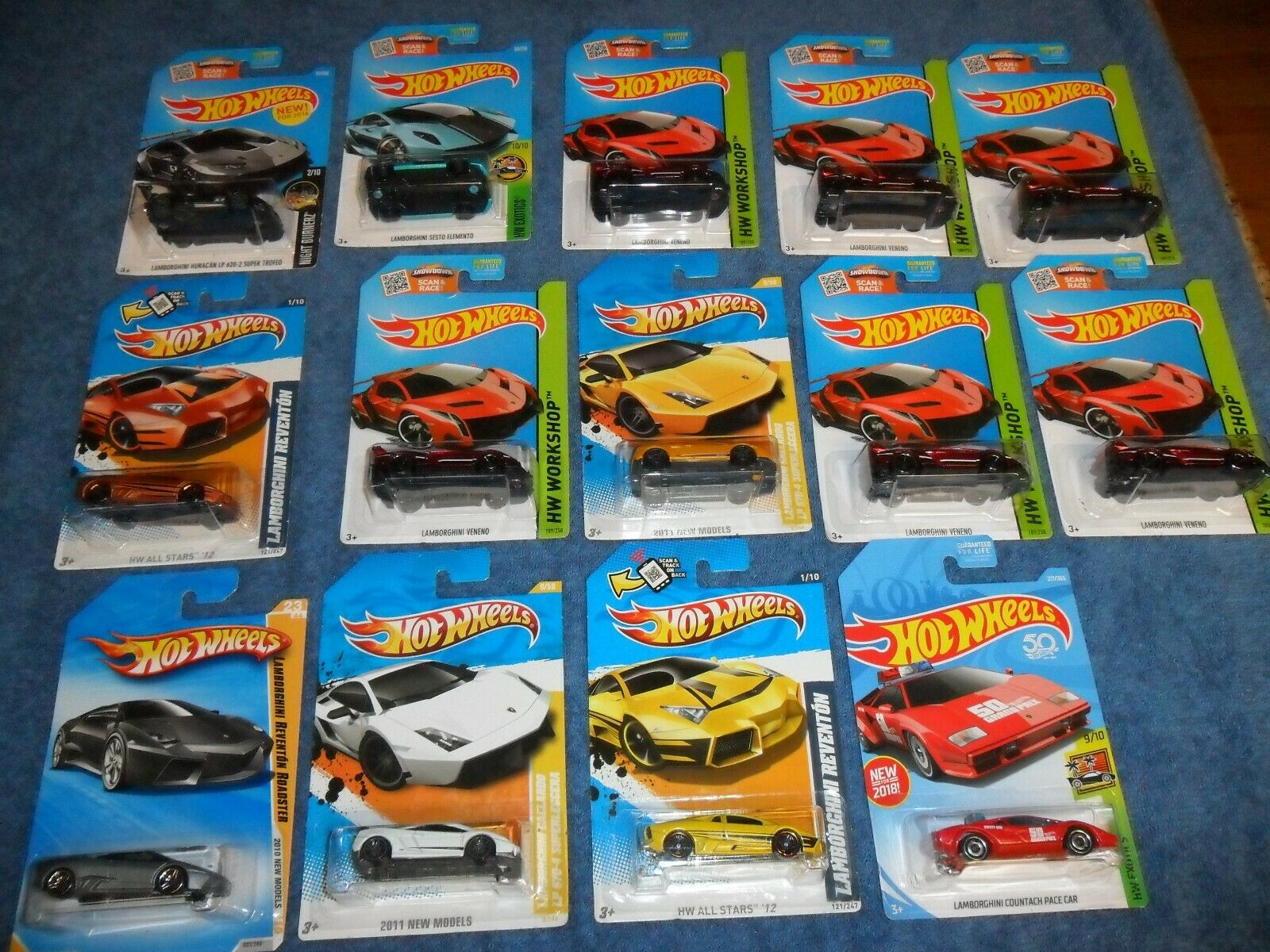 14 LOT Hot Wheels Lamborghini Huracan Countach Reventon Sesto Veneno Gallardo +