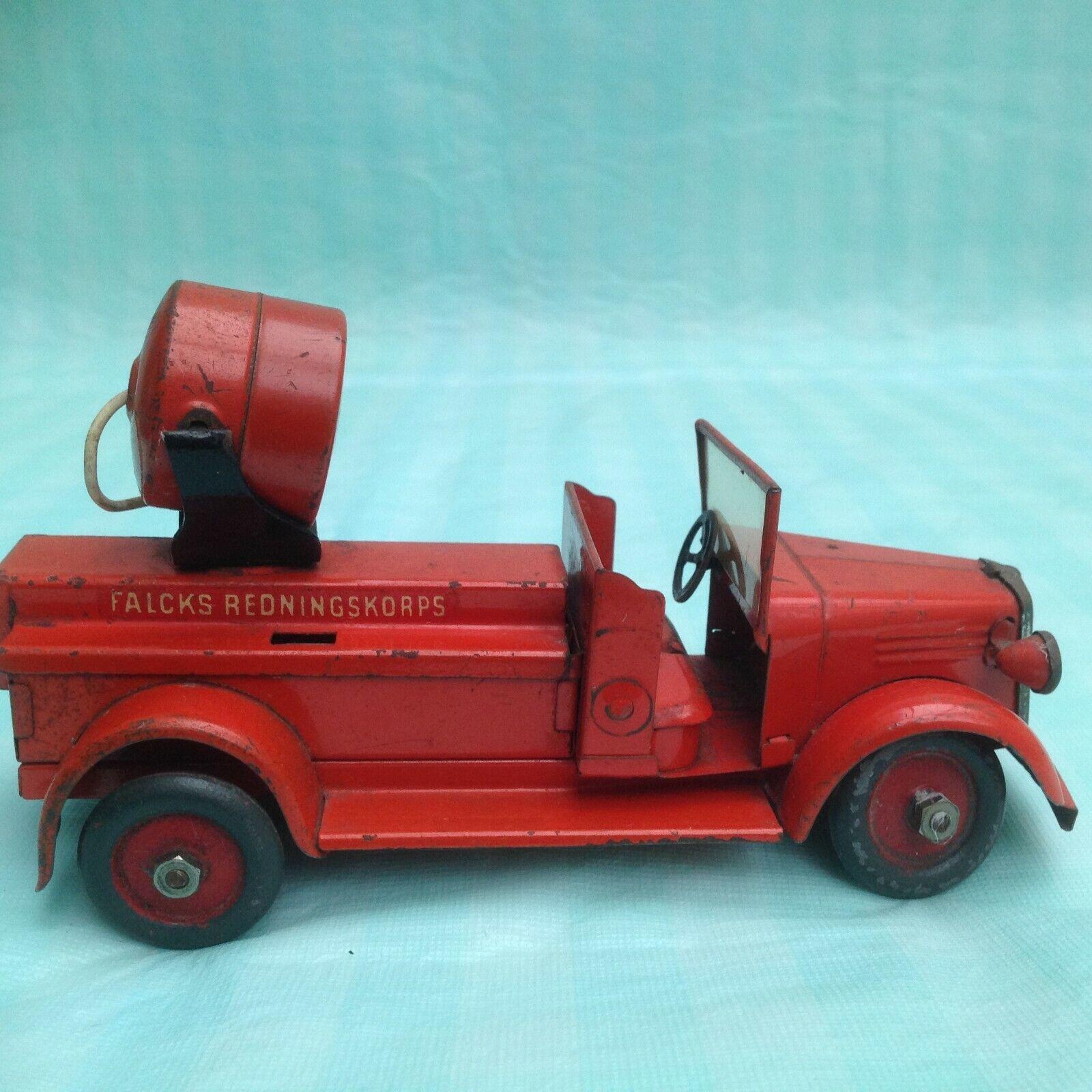 VINTAGE falcks rossoningskorps latta camion dei pompieri con luce di ricerca