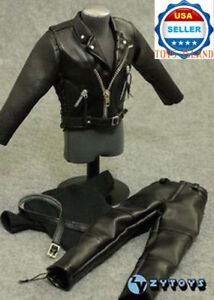 """1//6 T-800 Arnold Black Leather Motorcycle Jacket Set For 12/"""" Hot Toys Figure USA"""