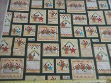 Geranium Flowers & Bird House Patches Allover Cotton Fabric Geraniums VIP Fabric