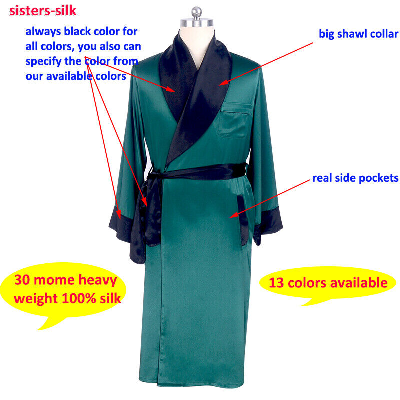 30 Momme Heavy Weight 100 Real Silk Long Robes Bath Gowns