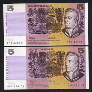 R-213L-1991-5-Dollars-Fraser-Cole-Last-Prefix-QPG-UNC-CONSECUTIVE-Pair