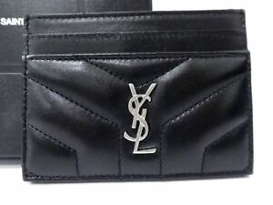 70ac5955e52 Image is loading Authentic-Yves-Saint-Laurent-Leather-Card-Pass-Case-
