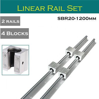 2x SBR20 1200mm Linear Rail 4x SBR20UU Slide Block Bearing Linear Rail