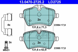 Bremsbelagsatz Scheibenbremse ATE Ceramic ATE 13.0470-2725.2