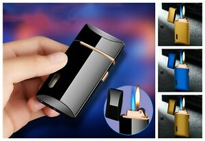 Two-Flames-Turbo-Lighter-Spray-Gun-Butane-Cigar-Cigarette-Windproof-Gas-Lighters