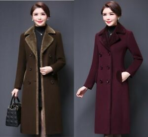 Women Ladies Winter Lapel Slim Long Coat Jacket Parka Outwear Wool Overcoat