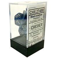 Chessex CHX27488 7 Ct. Phantom Poly Dice Set Black - Silver Pack Of 2 Toys