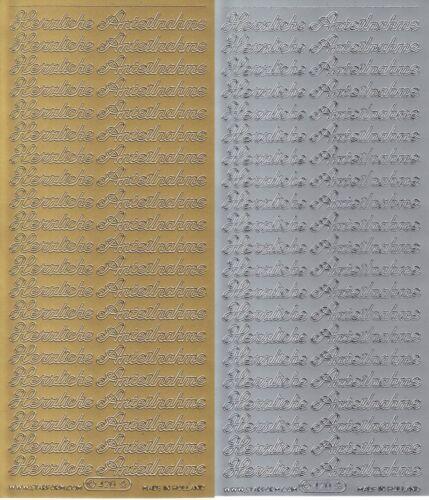 Sticker in Gold oder Silber 10x23 cm Herzliche Anteilnahme