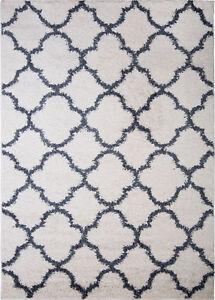 Nicole Miller Designer Area Rug White Blue Moroccan Trellis
