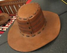 Vintage Tan Mid Brown Tooled Leather Outback Bush Cowboy Hat Barmah Stitching 2