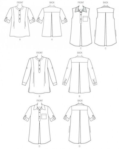 Butt... Butterick Ladies Easy Sewing Pattern 6099 Loose Fit Pullover Tunic Tops