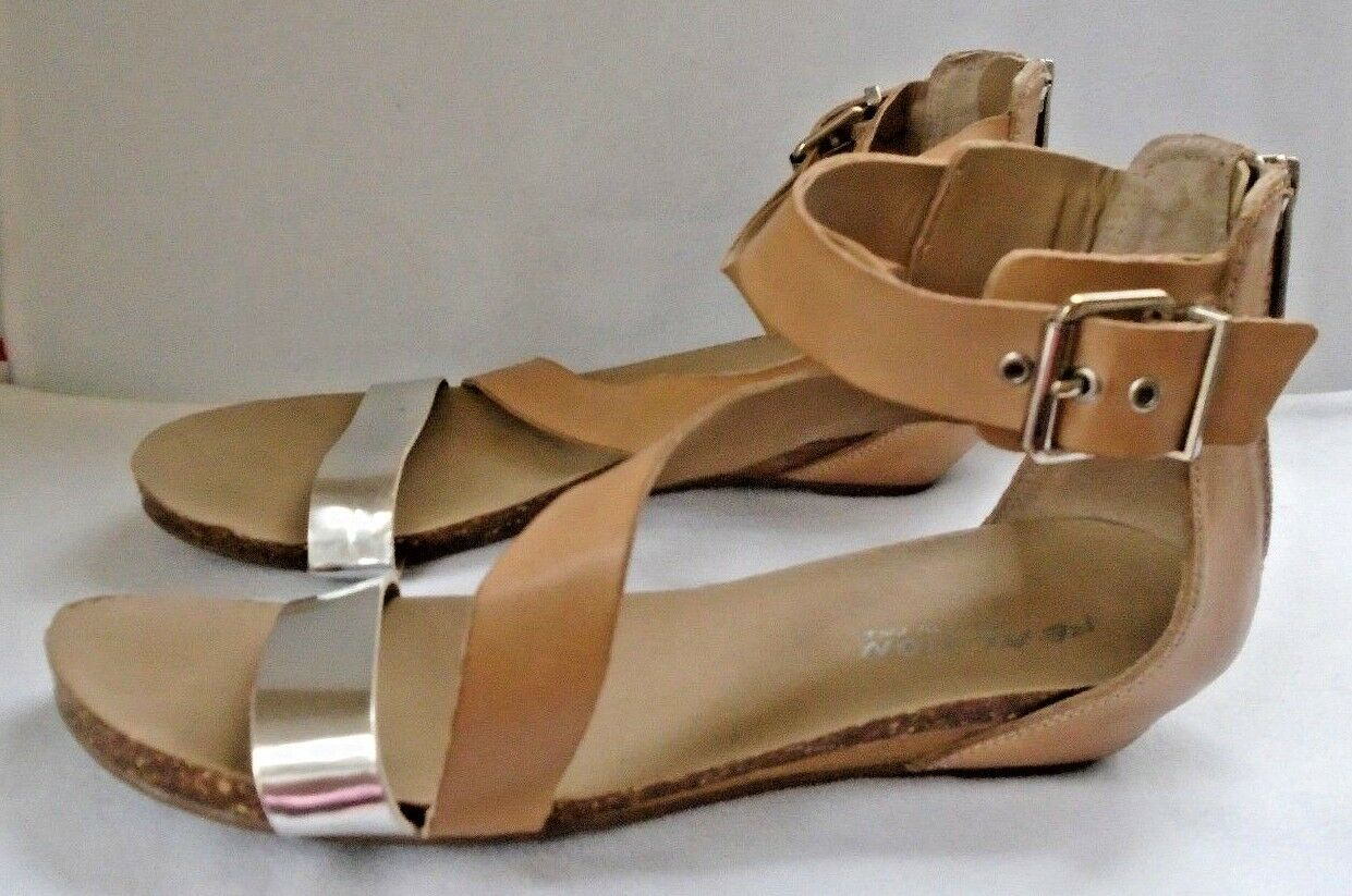 Kenneth Cole Reaction Silver Great Ness Tan & Silver Reaction Leather Strappy Sandals US Size 9 cac3e6