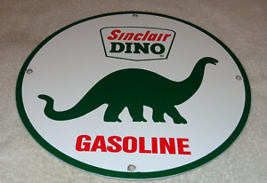 VINTAGE-SINCLAIR-DINO-GAS-11-3-4-034-PORCELAIN-METAL-GASOLINE-amp-OIL-SIGN-PUMP-PLATE