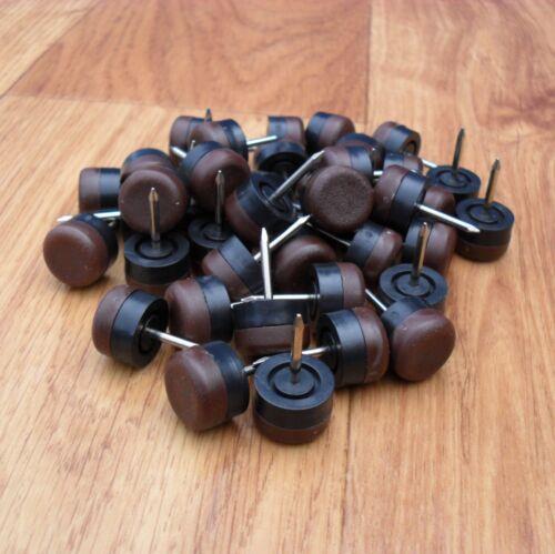 24 Stuhlgleiter 15 mm Möbelgleiter Möbeluntersetzer mit Nagel Braun