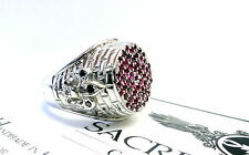 Men's Silver Fleur De Li King Castle Ring With Black Diamonds And Rubies