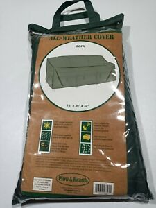 Plow & Hearth Outdoor Furniture All-Weather Cover for Sofa - Green