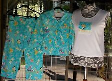 Beaded Fringe Butterflies Capri's With Matching Tank Top & Jacket Sz. XL  Cute!