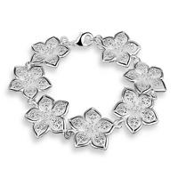 Elegant Women Peach Flowers Chain 925 Silver Plated Cuff Bracelet Bangle Jewelry