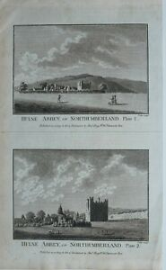 c1786-ANTIQUE-PRINT-HULNE-ABBEY-IN-NORTHUMBERLAND