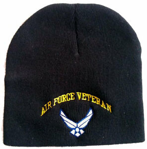 Adult New Military US Air Force Veteran Black Knit Beanie Hat Skull ... 2088c79b87a