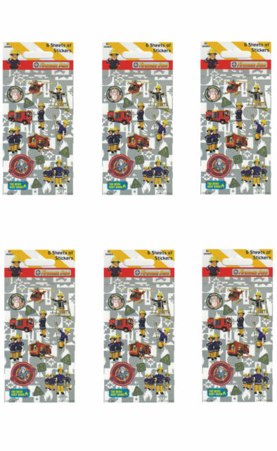 Fireman Sam Party Bag Sticker Favour Sheets 1-48pk