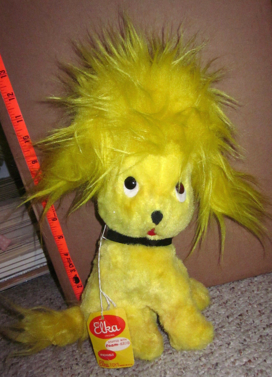 ELKA TOYS vtg Gelb puppy OG doll 1960s w/ tag New York wild stuffed animal