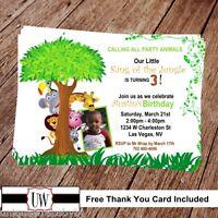 Printable Photo Safari Birthday Invitation, Safari Party Supplies , Animals Diy