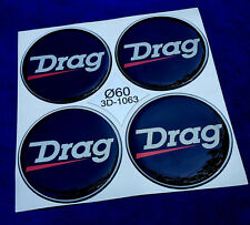 (3D-1063) 4x Drag Embleme für Nabenkappen  Felgendeckel 60mm Silikon Aufkleber