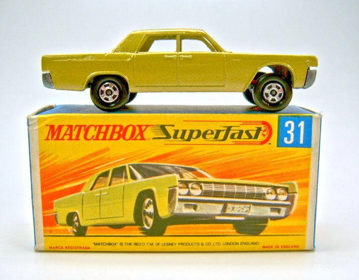 MATCHBOX Nº 31A Lincoln Continental Oro Metallico senza finestre montato ERRORE
