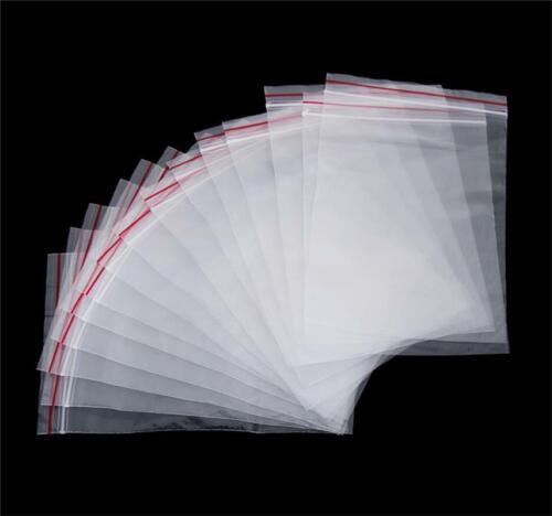 100pcs Zip Lock Bags Resealable Self Seal Clear Plastic Poly Bag Set Dw