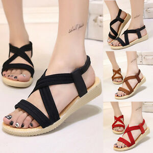 Women-039-s-Summer-Sandals-Flat-Sandals-Bandage-Bohemia-Leisure-Ladies-Outdoor-Shoes