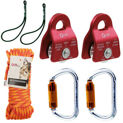 Rock Climbing Arborist 2 Rope Pulley 2 Carabiner 1 Rope Safety Hauling Equip