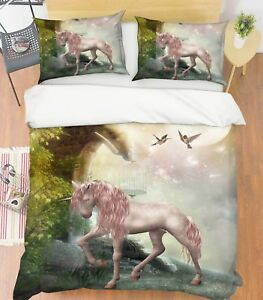3D-Rosa-Einhorn-Wunderland-5-Bett-Kissenbezuege-steppen-Duvet-Decken-Set-Single