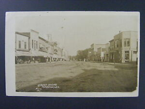 Mauston Wisconsin WI Street Scene Stores Antique Real Photo Postcard RPPC 1912