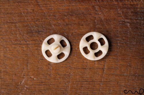 10 Set Japan Ivory White Snap Fastener Popper Press Studs Plastic Sewing Round
