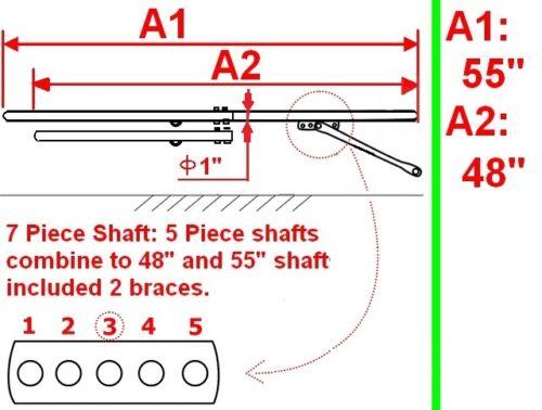 """New Easy Entry Heavy Duty 7 Piece Straight Shafts 48""""// 55""""Unit-NIB"""