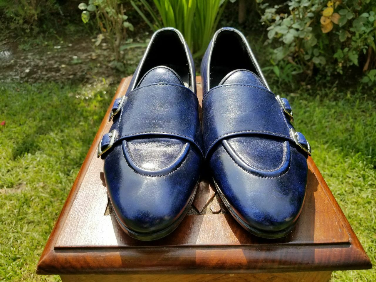 Zapatos De Fiesta para hombres cuero genuino hecho a mano Sin Cordones Correa Doble Monje