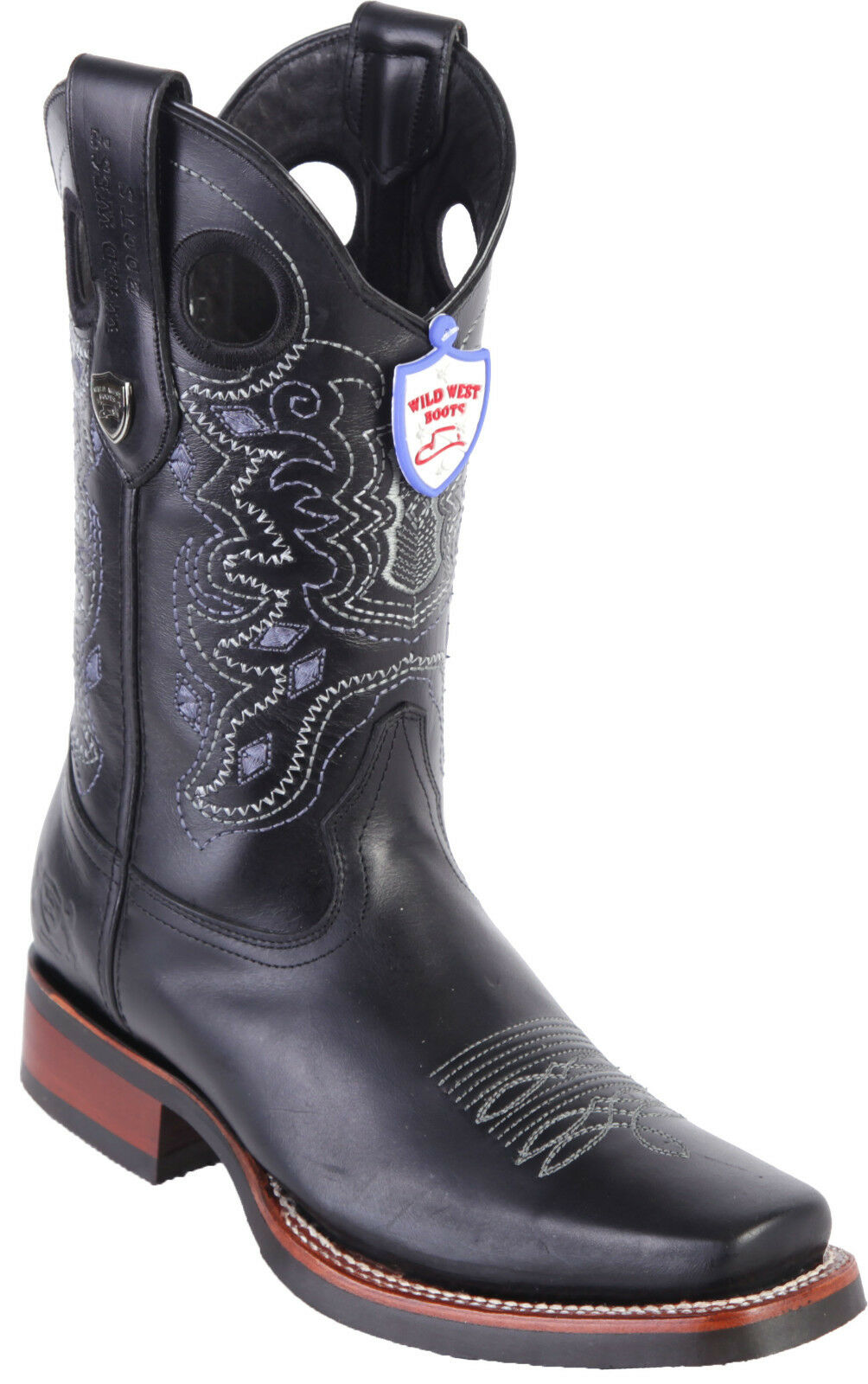 Men's Wild West Western Boots Square Toe Genuine Pull Up Leather Rubber Sole