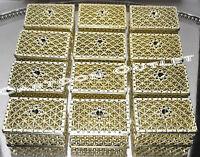 12 Pc Gold Square Plastic Trinket Box Wedding Favors Arras Chest Fillable Decor
