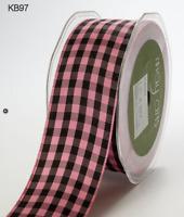 1.5 Inch Solid Checkered Ribbon - May Arts - Kb60 - Rose/black - 5 Yards