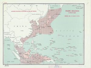 Japanese Control Pacific 1945 CIA declassified map World War 2 WWII ...