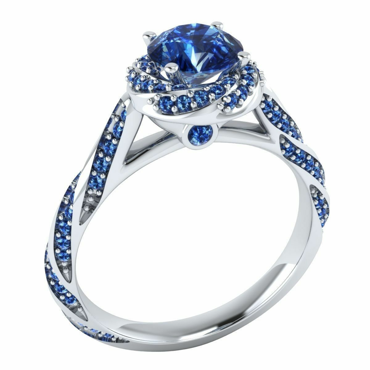 1.00 ct Round Cut bluee Sapphire Engagement Wedding Ring 14k Solid White gold