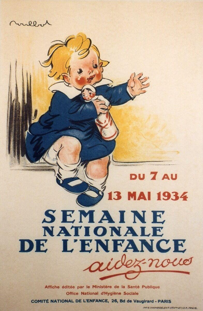 SEMAINE NATIONALE DE L'ENFANCE 1934  Affiche originale entoilée POULBOT 43x63cm