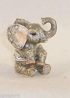 Miniature Hungry Elephant Pewter Bejeweled Hinged Trinket Box