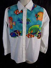 Quacker Factory Womens S White Fish Tropical Summer Blouse Top Shirt AA316